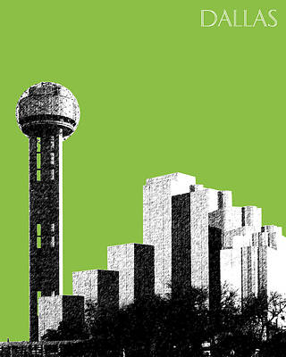 Pen Digital Art - Dallas Skyline Reunion Tower - Olive by DB Artist