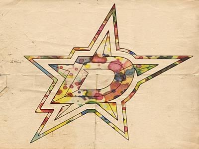 Hockey Painting - Dallas Stars Logo Poster by Florian Rodarte