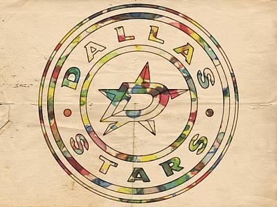 Goaltender Painting - Dallas Stars Vintage Poster by Florian Rodarte