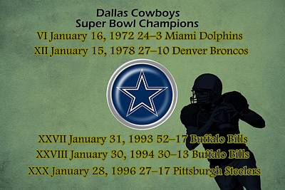 Dallas Drawing - Dallas Texas Cowboys Super Bowl Wins by Movie Poster Prints
