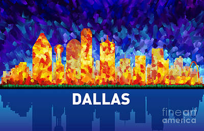 Dallas Skyline Painting - Dallas by Tim Gilliland