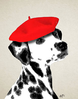 Dalmation With Red Beret Print by Kelly McLaughlan