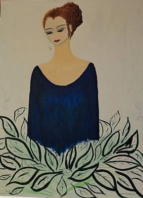Hairdo Mixed Media - Dame Bleue by Lucie  Menard