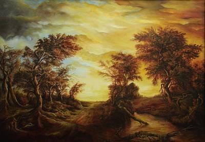 Tablou Painting - Dan Scurtu - Forest At Sunset by Dan Scurtu