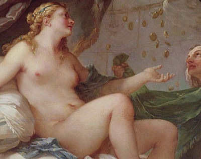 Coins Painting - Danae Receiving The Shower Of Gold by Charles Joseph Natoire