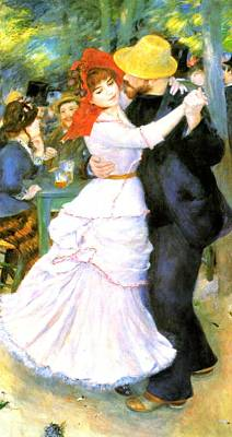 Dance At Bougival Print by Pierre Auguste Renoir