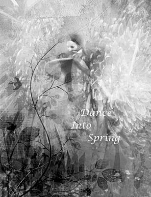 Flowers Digital Art - Dance Into Spring Black And White by Georgiana Romanovna