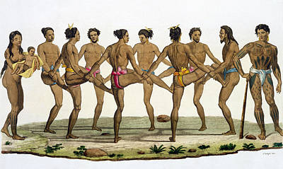 People Drawing - Dance Of The Caroline Islanders, Plate by Felice Campi