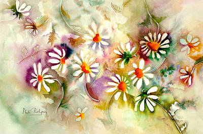 Dance Of The Daisies Print by Neela Pushparaj