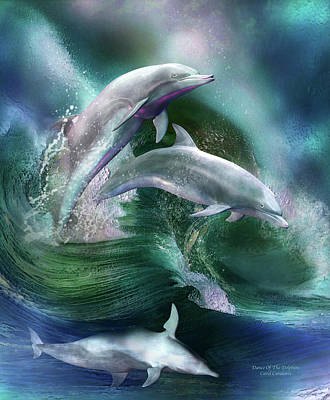 Dolphin Mixed Media - Dance Of The Dolphins by Carol Cavalaris
