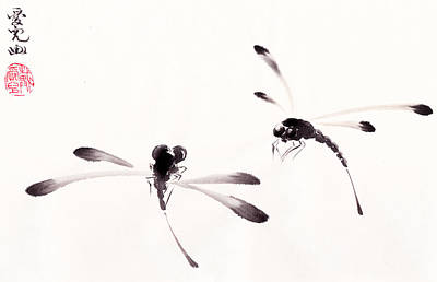 Dragonflies Painting - Dance Of The Dragonflies by Oiyee At Oystudio