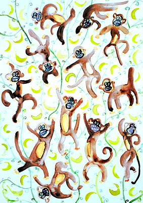 Banana Painting - Dance Of The Monkeys by Fabrizio Cassetta