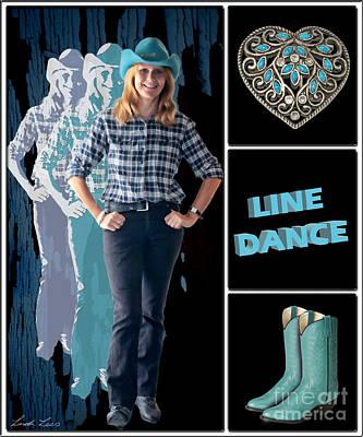 Dance Series - Line Dance Print by Linda Lees