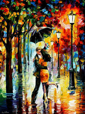 Dance Under The Rain - Palette Knife Oil Painting On Canvas By Leonid Afremov Original by Leonid Afremov
