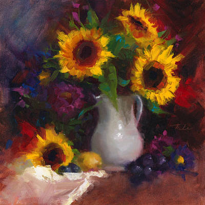 Painted Ladies Painting - Dance With Me - Sunflower Still Life by Talya Johnson