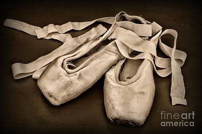 Dance Studio Photograph - Dancer - Ballerina Shoes - Black And White by Paul Ward