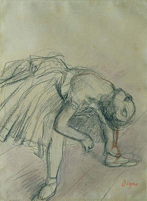 Impressionism Drawing - Dancer Fixing Her Slipper by Edgar Degas