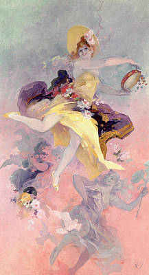 Girl With A Pink Dress Painting - Dancer With A Basque Tambourine by Jules Cheret