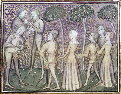 Bagpipes Painting - Dancers, C1380 by Granger