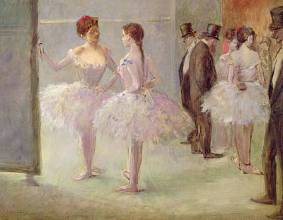 Behind The Scenes Painting - Dancers In The Wings At The Opera by Jean Louis Forain