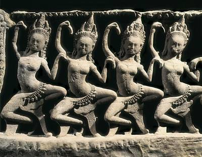 Dancer Relief Photograph - Dancing Apsaras. 13th C. Khmer Art by Everett