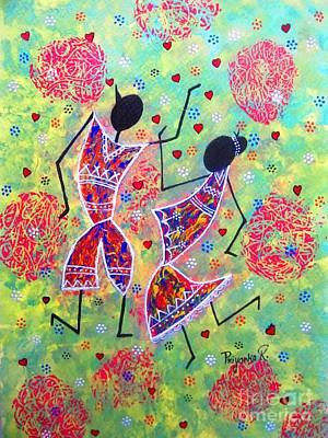 Warli Painting - Dancing Couple  by Priyanka Rastogi