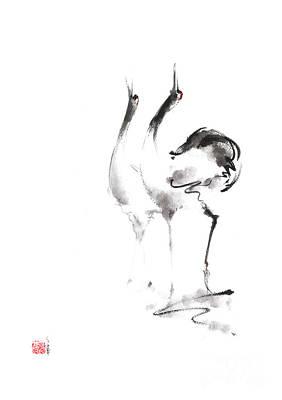 Dancing Cranes Japanese Artwork Original by Mariusz Szmerdt