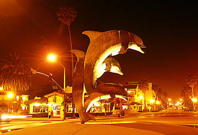 Tourist Attraction Digital Art - Dancing Dolphins At Night by Ron Regalado
