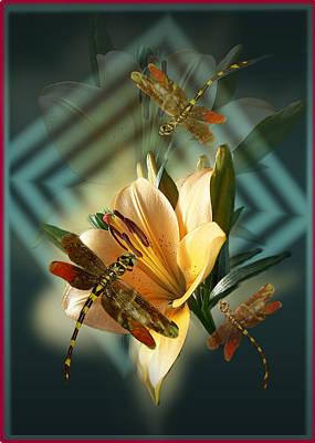 Dancing Dragonflies  Print by Regina Femrite