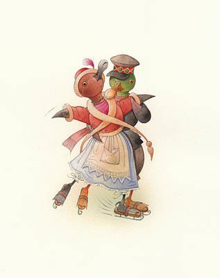 Dancing Ducks 02 Print by Kestutis Kasparavicius