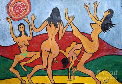 Taikan Painting - Dancing Four Nymphs by Taikan Nishimoto