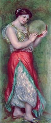 Dancing Girl With Tambourine Print by Pierre Auguste Renoir