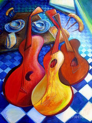 Dancing Guitars Print by Frederick  Luff