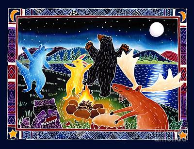Raccoon Painting - Dancing In The Moonlight by Harriet Peck Taylor
