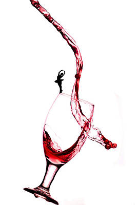 Dancing On A Glass Cup With Splashing Wine Little People On Food Print by Paul Ge