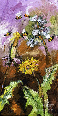 Dandelion Mixed Media - Dandelions And Bees Modern Expressionism by Ginette Callaway