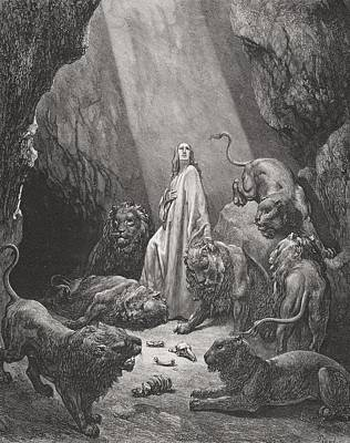 Religious Drawing - Daniel In The Den Of Lions by Gustave Dore