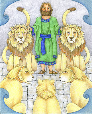 Daniel In The Lions' Den Print by Alison Stein
