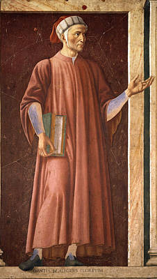 Andrea Del Castagno Painting - Dante Alighieri by Andrea del Castagno