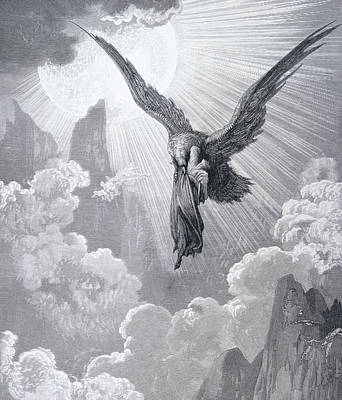 Eagle Drawing - Dante And The Eagle by Gustave Dore