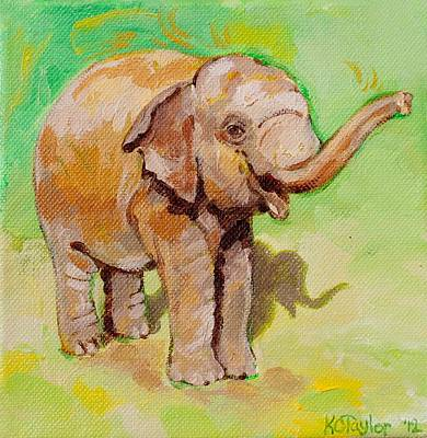 Happy Elephant Painting - Dante Green by Kathleen Taylor