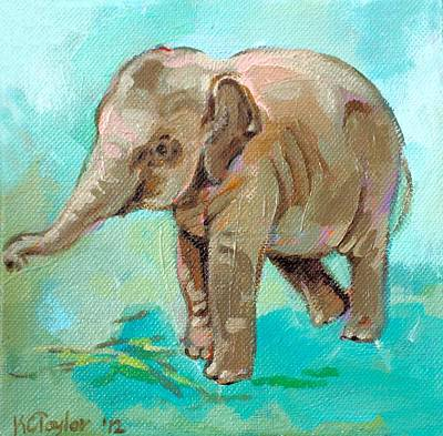 Happy Elephant Painting - Dante Teal by Kathleen Taylor