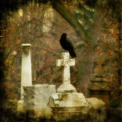 Ravens In Graveyard Photograph - Dark Autumn by Gothicrow Images