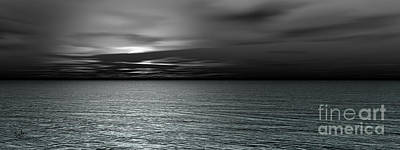 Other Worlds Digital Art - Dark Black Sea by Bedros Awak