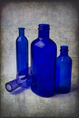 Dark Blue Bottles Print by Garry Gay