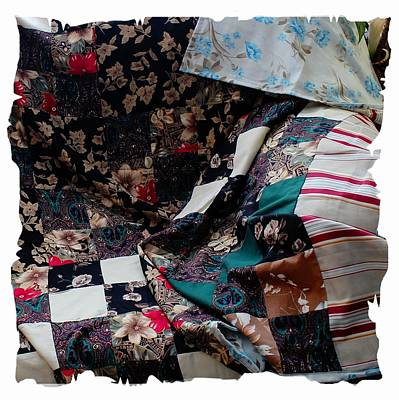 Dark Colored Blocks Patchwork Quilt  Print by Barbara Griffin