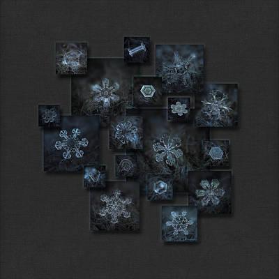Frost Photograph - Snowflake Collage - Dark Crystals 2012-2014 by Alexey Kljatov