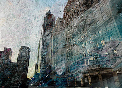 Crowd Scene Mixed Media - Dark Downtown Streetscene With Confetti And Wind by John Fish