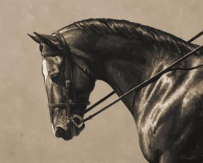 Dark Dressage Horse Aged Photo Fx Print by Crista Forest