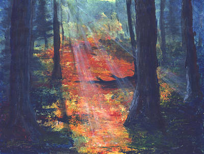 Dark Forest Autumn Forest Original by Francis Lee